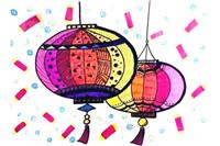 大红灯笼简笔画教程 国庆、元旦、春节手抄报的必备图